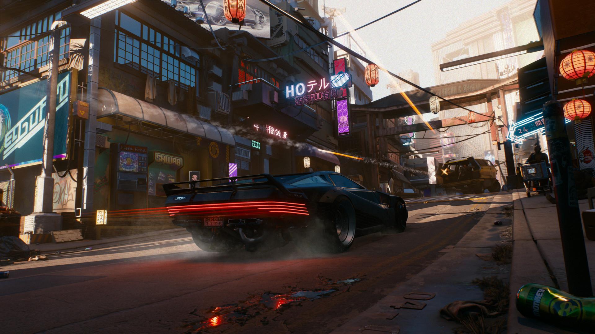 Futurystyczne auto pędzące ulicami Night City