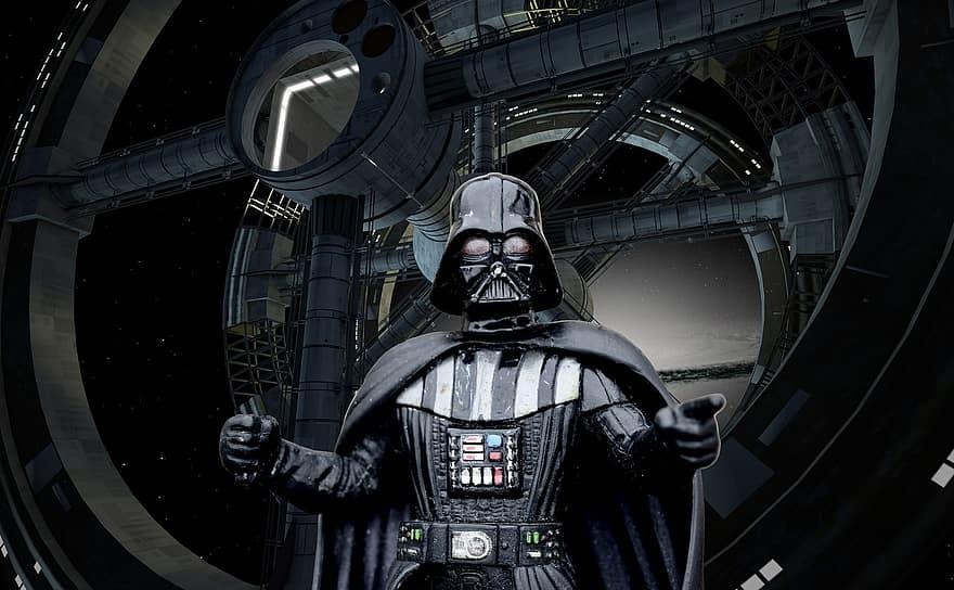 Darth Vader z Gwiezdnych Wojen.