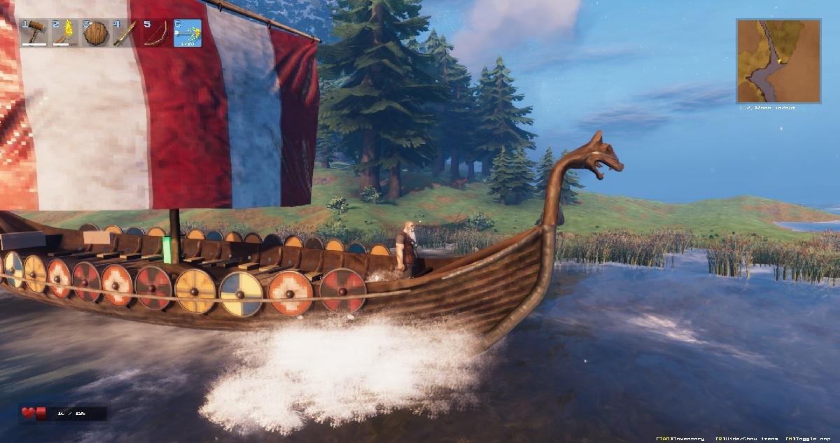 Postać na statku wikingów, gra Valheim