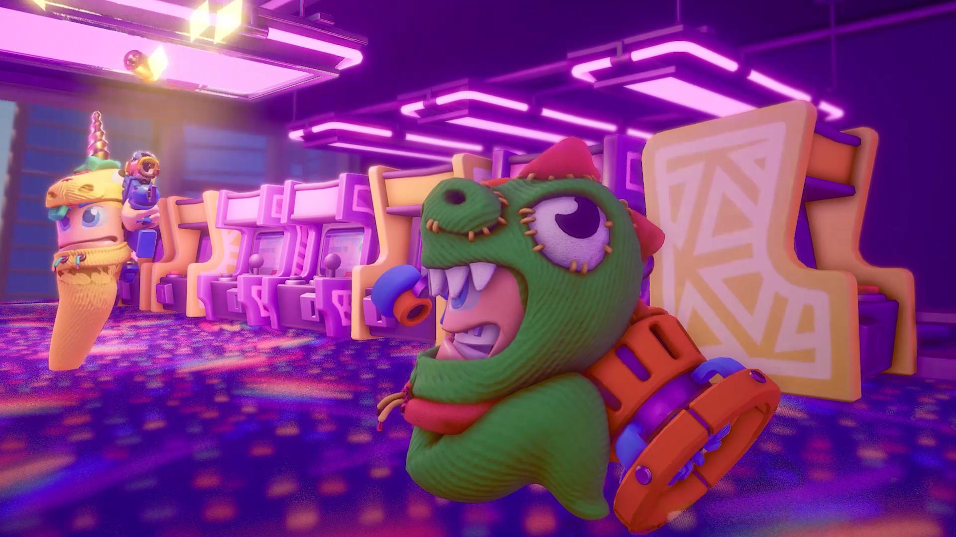 Fragment trailera do gry Worms Rumble. Robal w przebraniu smoka walczy z robakiem w przebraniu czegoś.