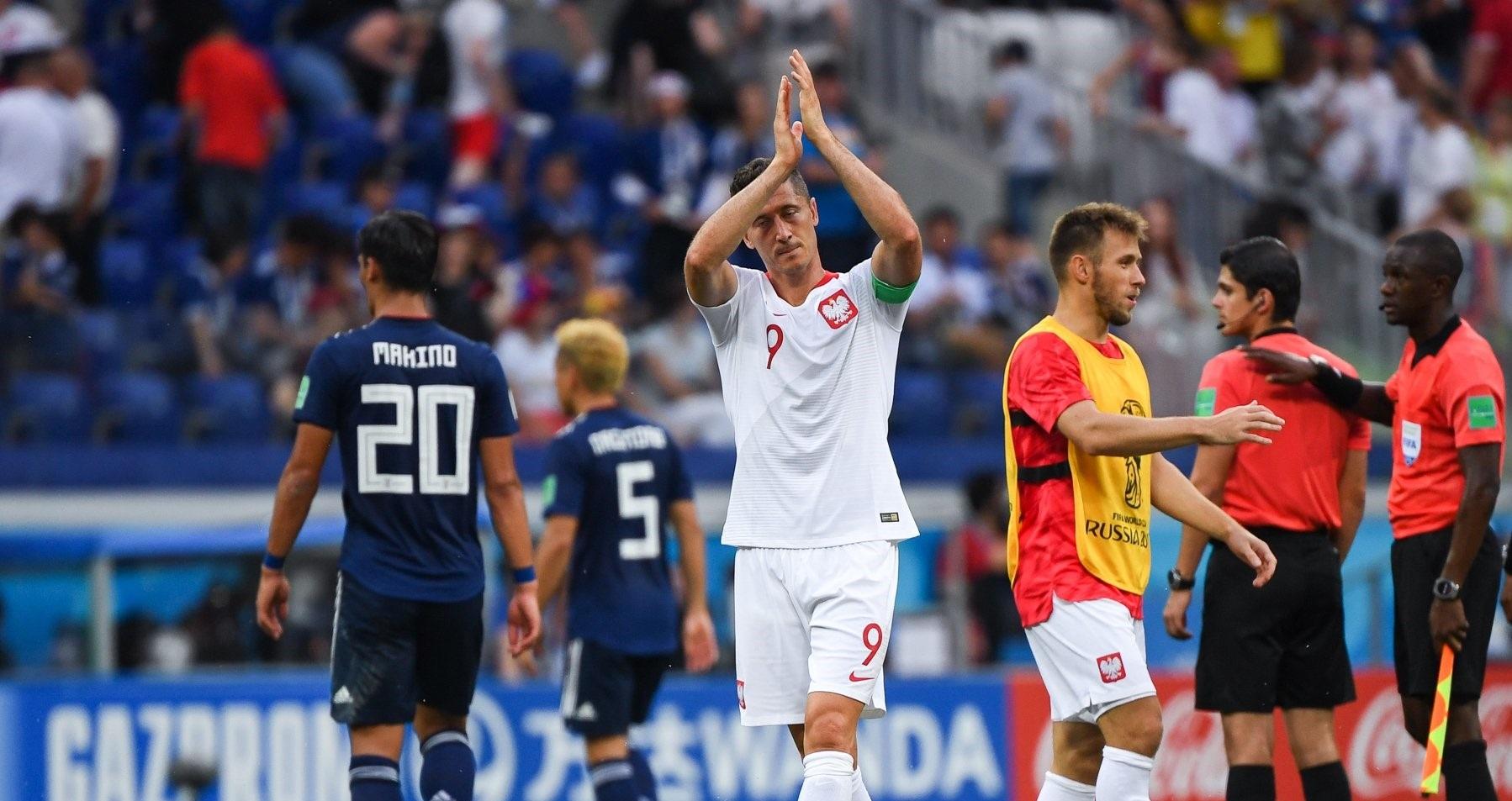 Robert Lewandowski po meczu z Japonią na Mistrzostwach Świata w 2018 roku.