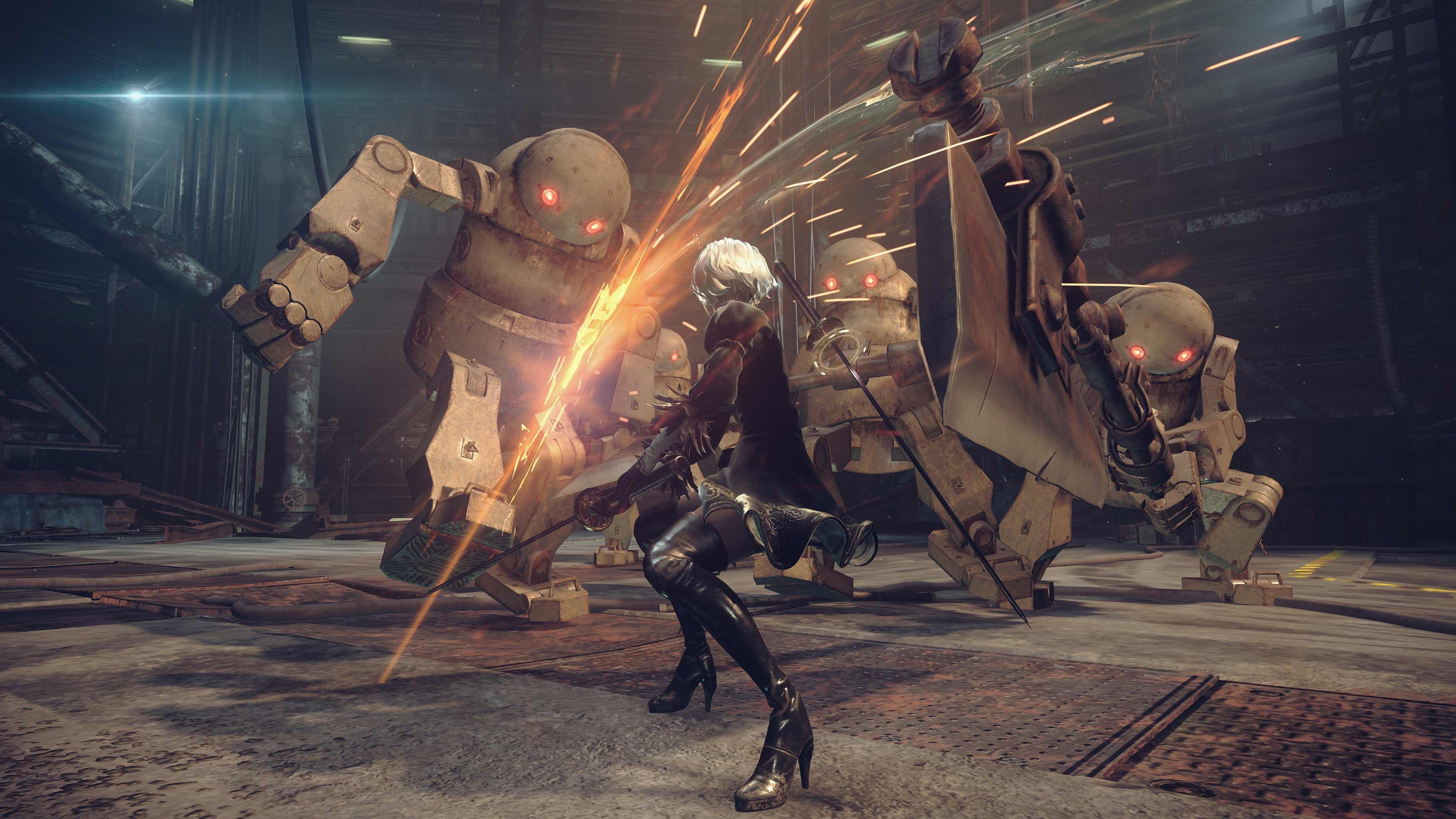 Screen z NieR: Automata przedstawiający scenę walki z wielkimi robotami
