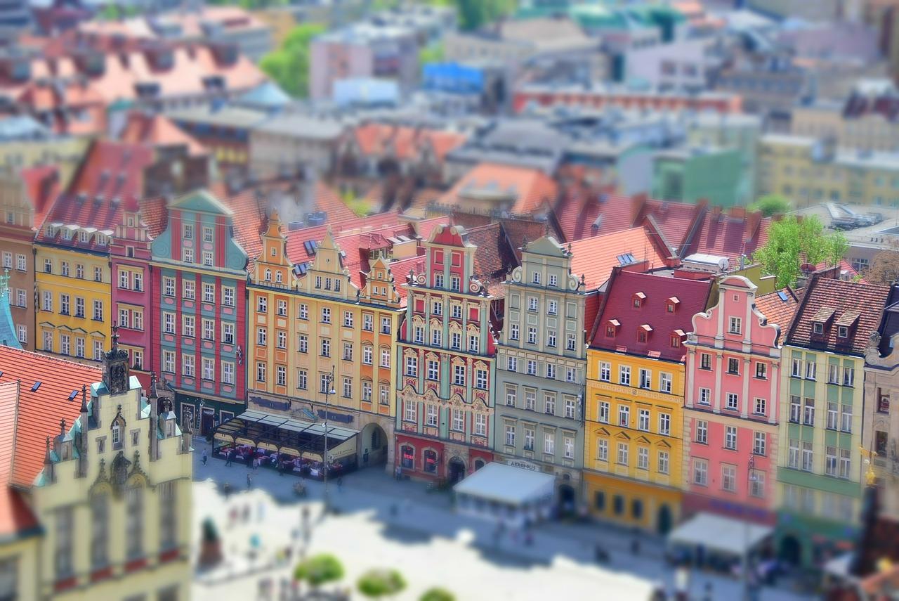 Panorama starówki we Wrocławiu.