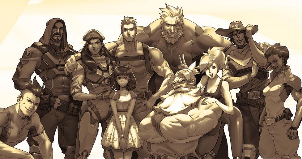 Artwork z postaciami z Overwatcha