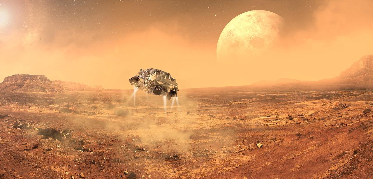 Wizualizacja lądowania sondy kosmicznej na powierzchni Marsa.
