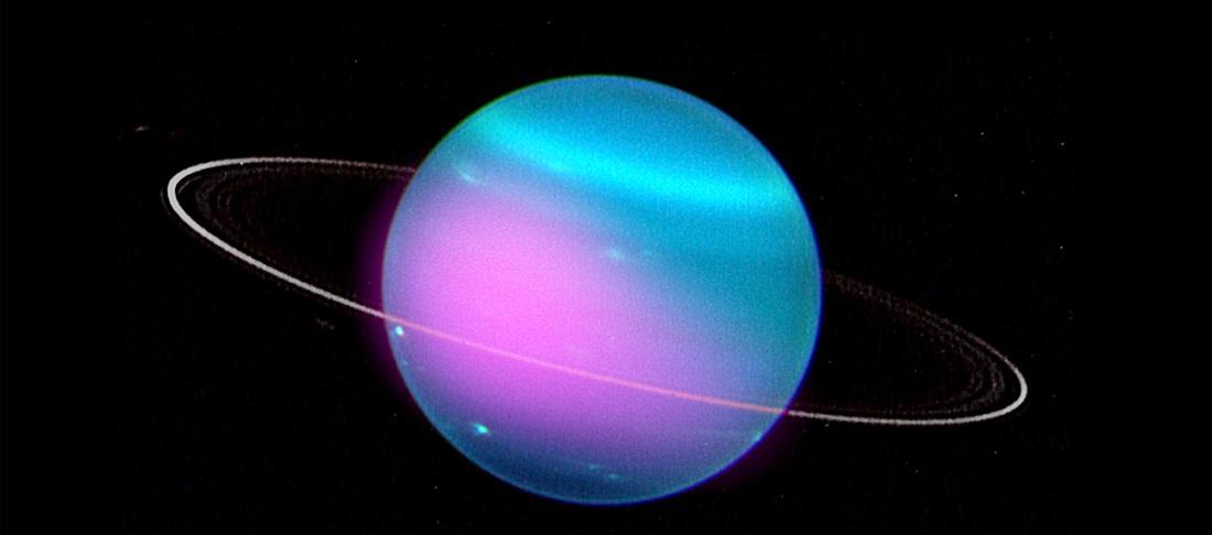 Uran z zaznaczonymi promieniami X