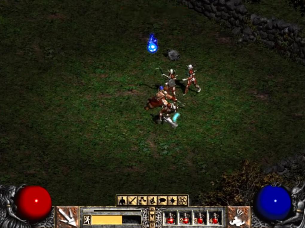 Screen z gry Diablo II przedstawiający bohatera walczącego na łące