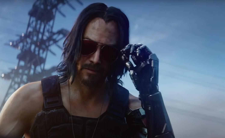 Zbliżenie na twarz Johnny'ego Silverhanda z  Cyberpunk 2077