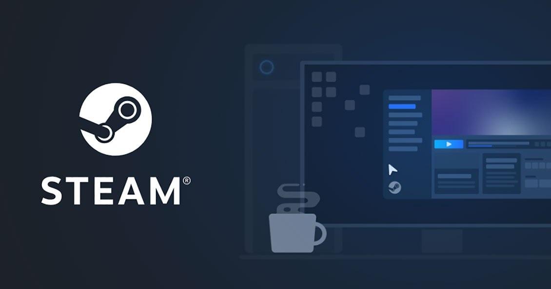 Logo Steam obok wizualizacji wyglądu platformy