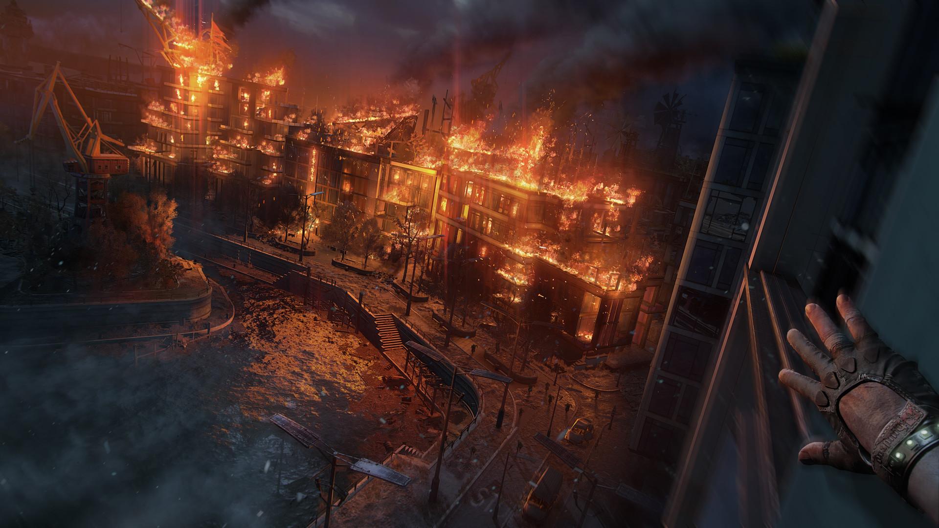 Płonące budynki na screenie z Dying Light 2