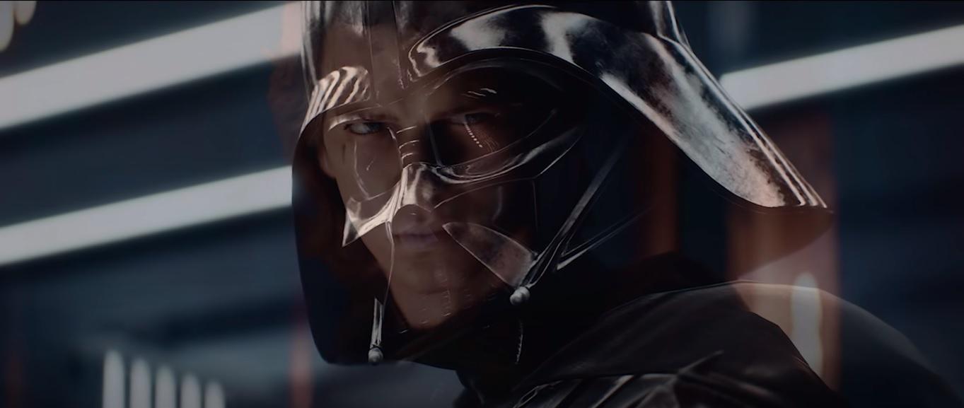 Screen ze zwiastuna Star Wars Battlefront 2 przedstawiający przejście Anakina i Vadera