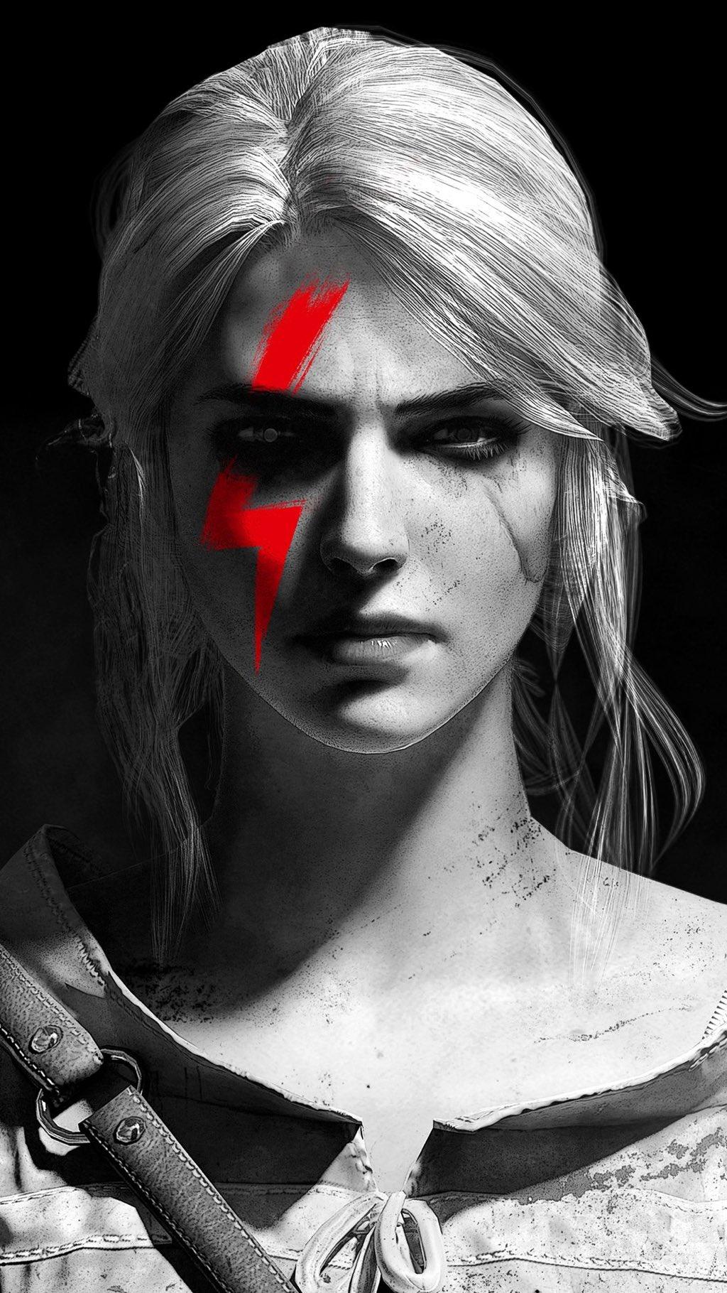 Twarz Ciri z czerwoną błyskawicą po jej prawej stronie.