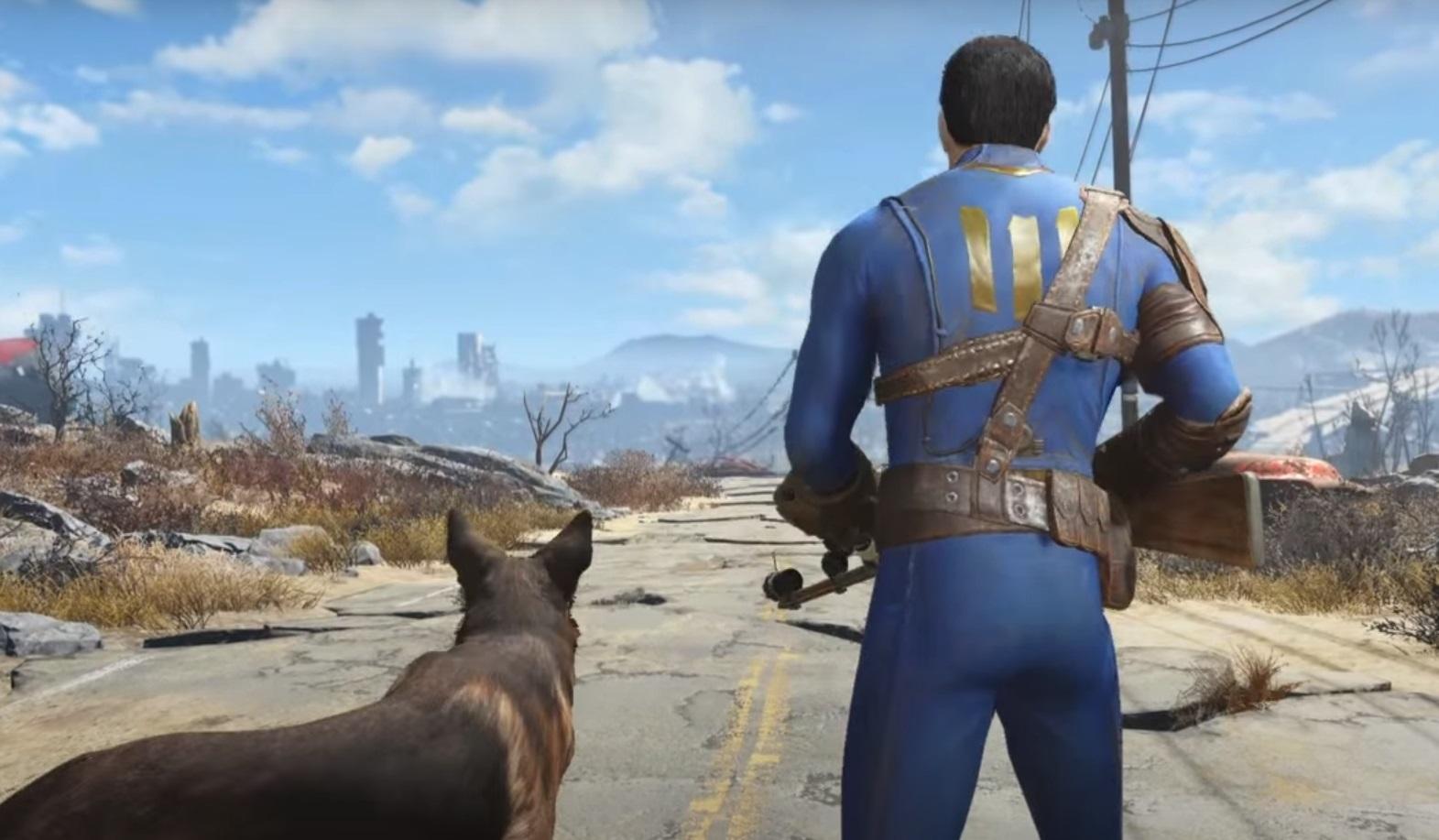 Bohater gry Fallout 4 z psem u boku na opustoszałej, spękanej drodze