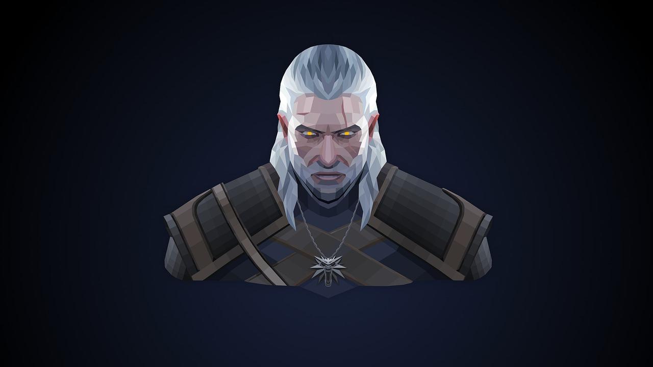 Popiersie Geralta z Riwii. Bohatera książek i gier z serii Wiedźmin.
