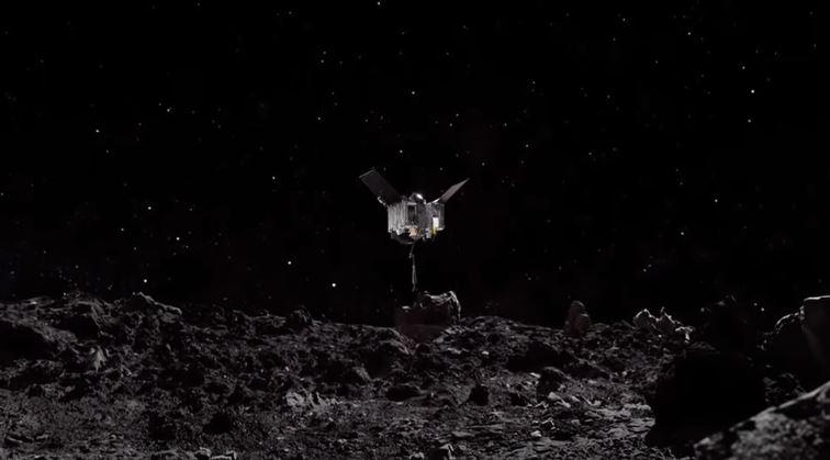 Wizualizacja lądowania sondy OSIRIS-REx na asteroidzie Bennu.
