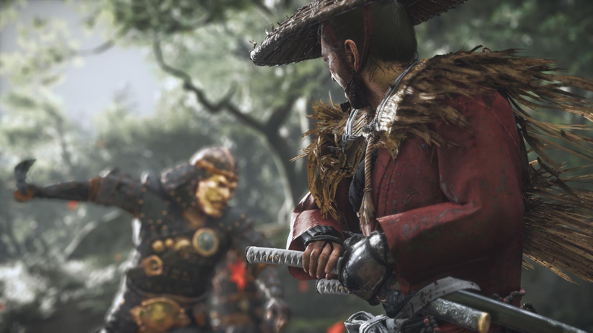 Screen z gry Ghost of Tsushima przestawiający wojownika dobywającego miecz