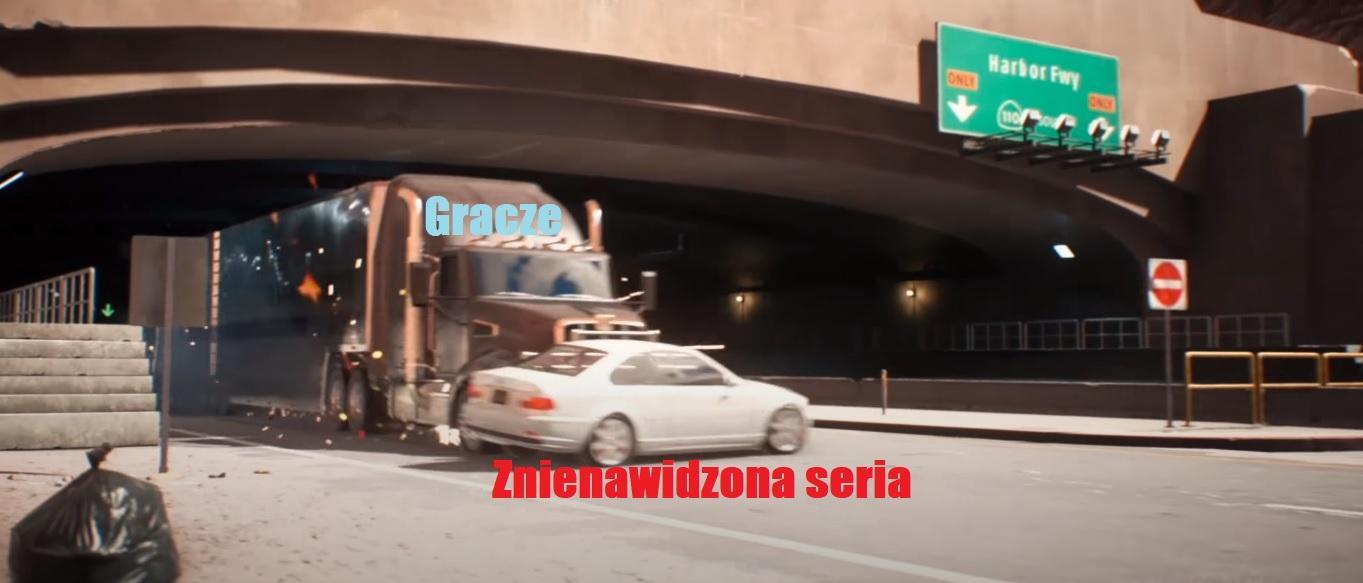 Scena z NFS Payback z tirem taranującym samochód