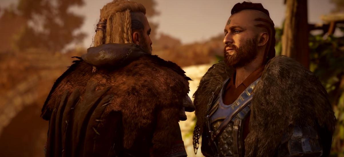 Screen z gry Assassin's Creed Vahalla. Główny bohater i bohater poboczny.