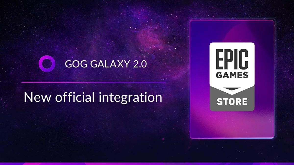 Grafika GOG GALAXY informująca o rozpoczęciu współpracy z Epic Games Store.
