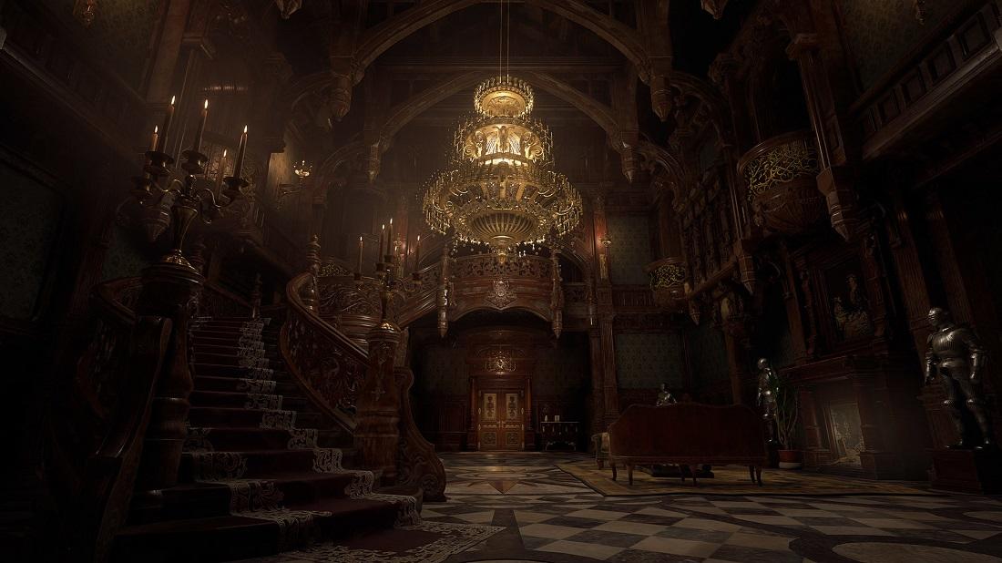 Resident Evil Village hall z żyrandolem