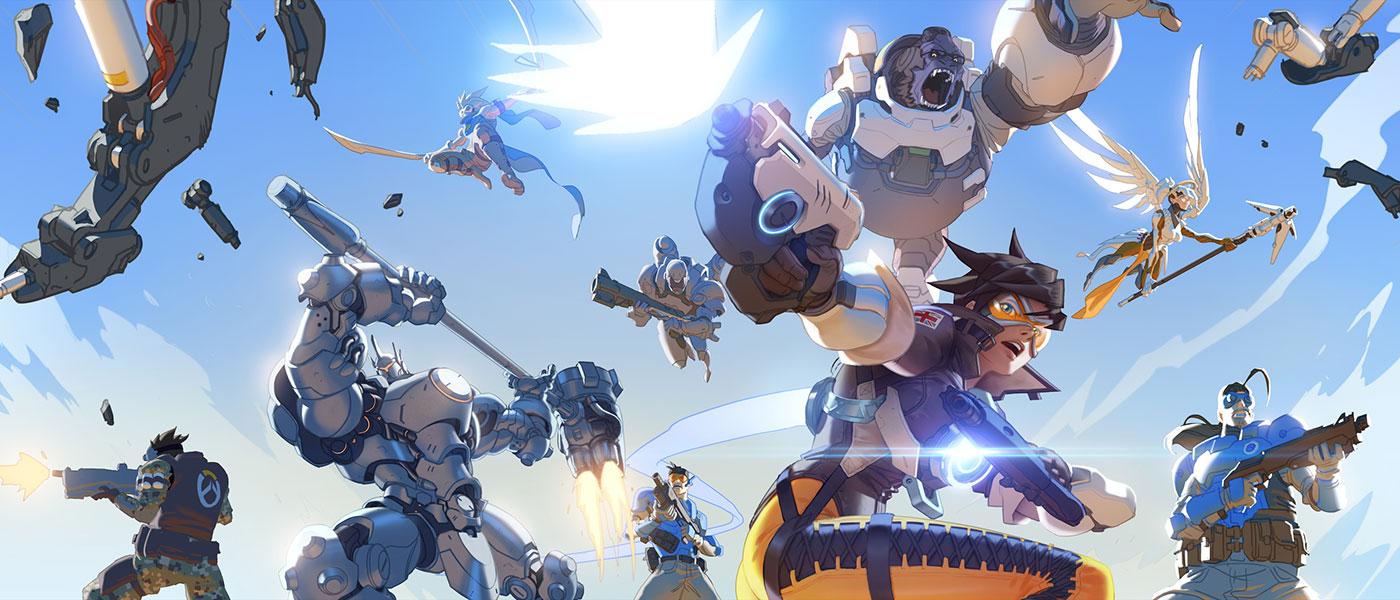 Bohaterowie Overwatch ze Smugą na czele w dynamicznym ujęciu na tle nieba
