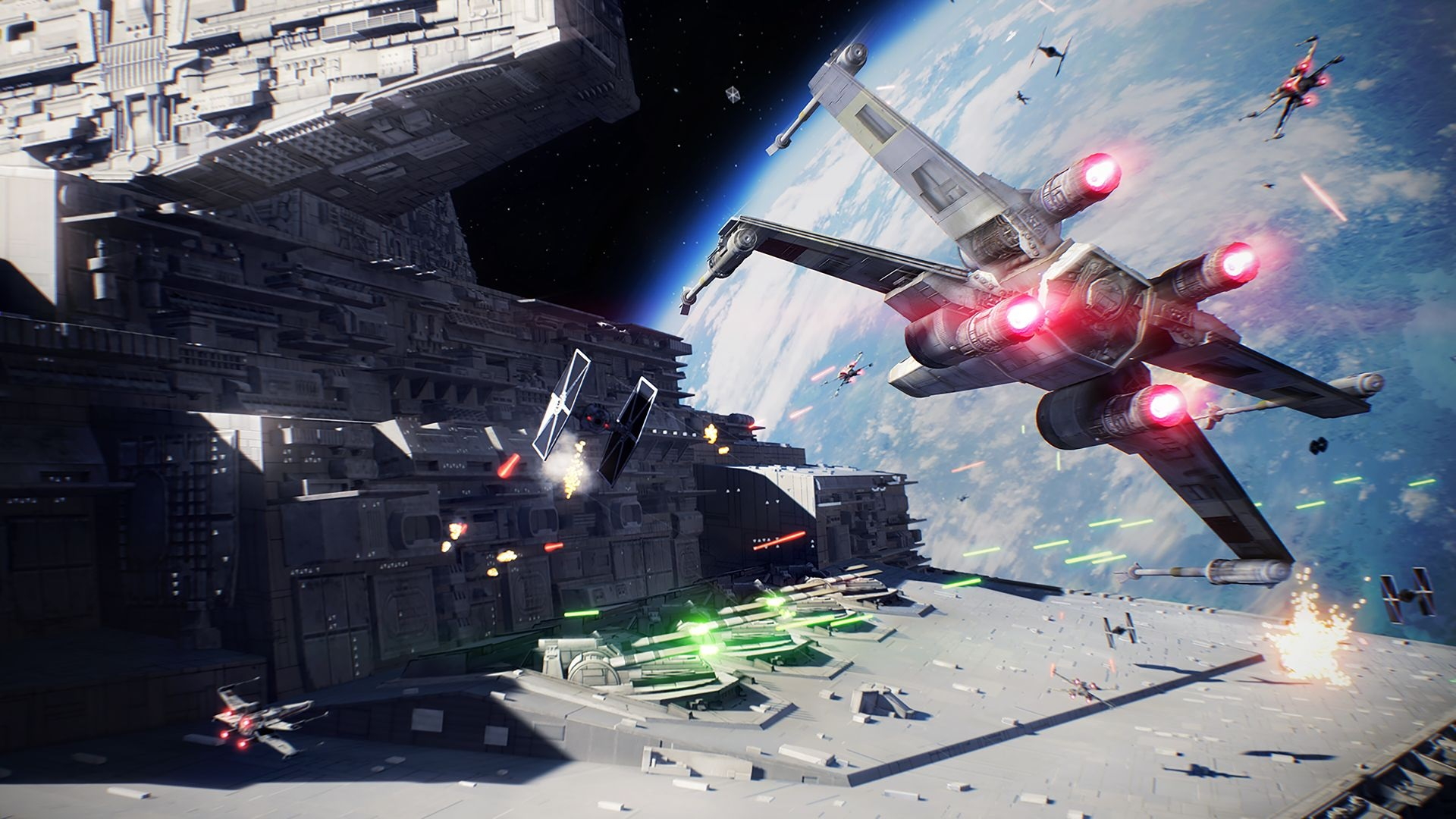 Pole kosmicznej bitwy w Star Wars Battlefront II z X-wingiem nacierającym na Tie Fightera