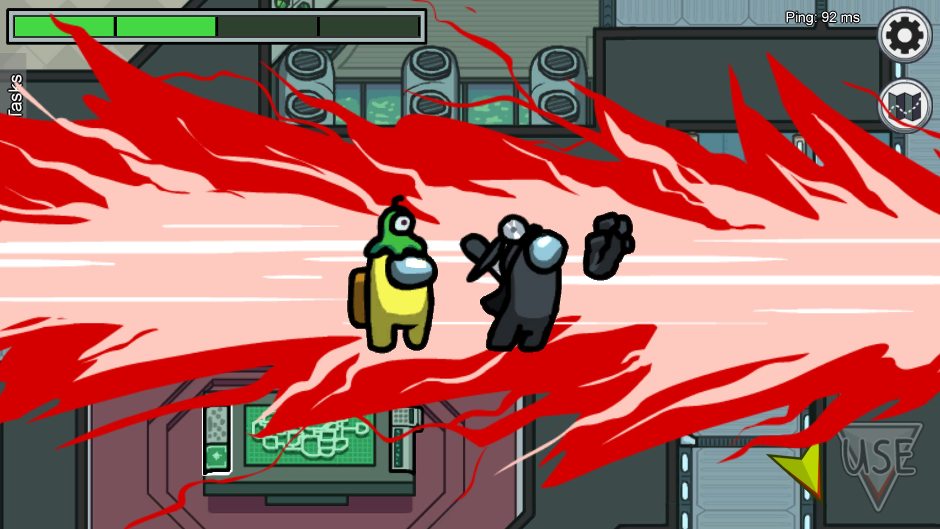 Screen z gry Among Us przedstawiający scenkę zabójstwa