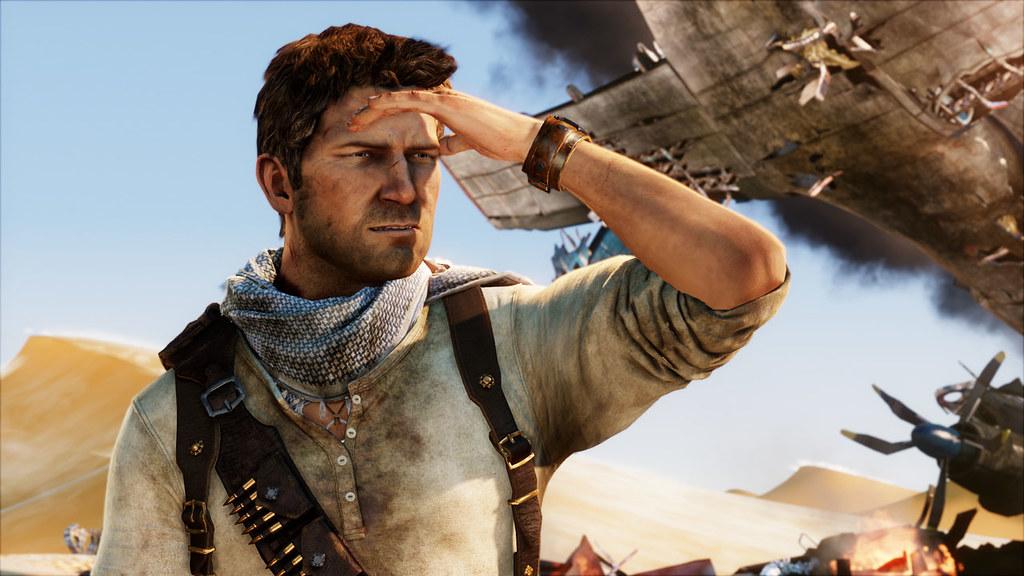 Nathan Drake - główny bohater gry Uncharted. Kadr z gry.