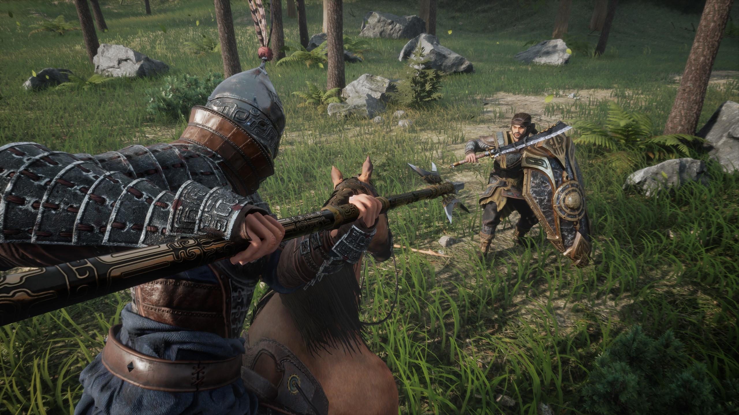 Screen z gry Myth of Empires przedstawiający szarżę konną na piechura