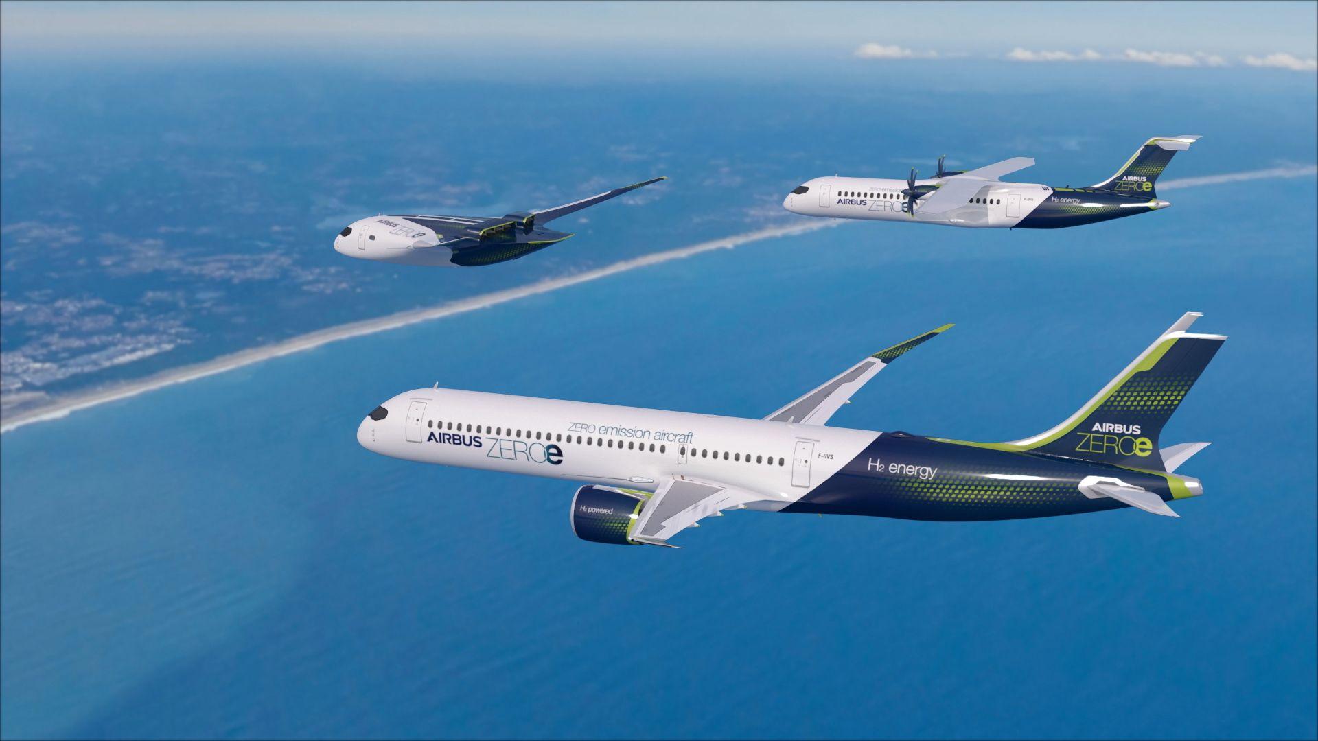 Samoloty zeroemisyjne od Airbusa - wizualizacja