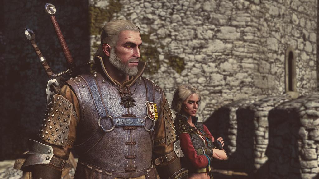 Kadr z gry Wiedźmin 3. Na pierwszym planie Geralt z Rivii, na drugim Ciri. Geralt ma na plecach dwa miecze.