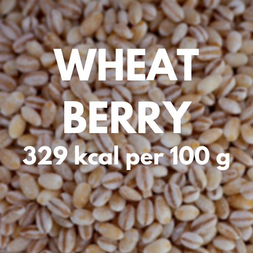 329 kcal per 100 g of wheat berry