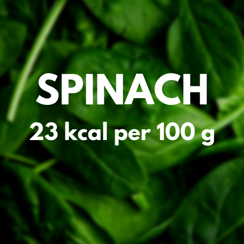 23 kcal per 100 g of spinach