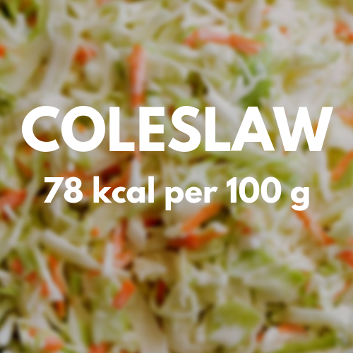 78 kcal per 100 g of coleslaw