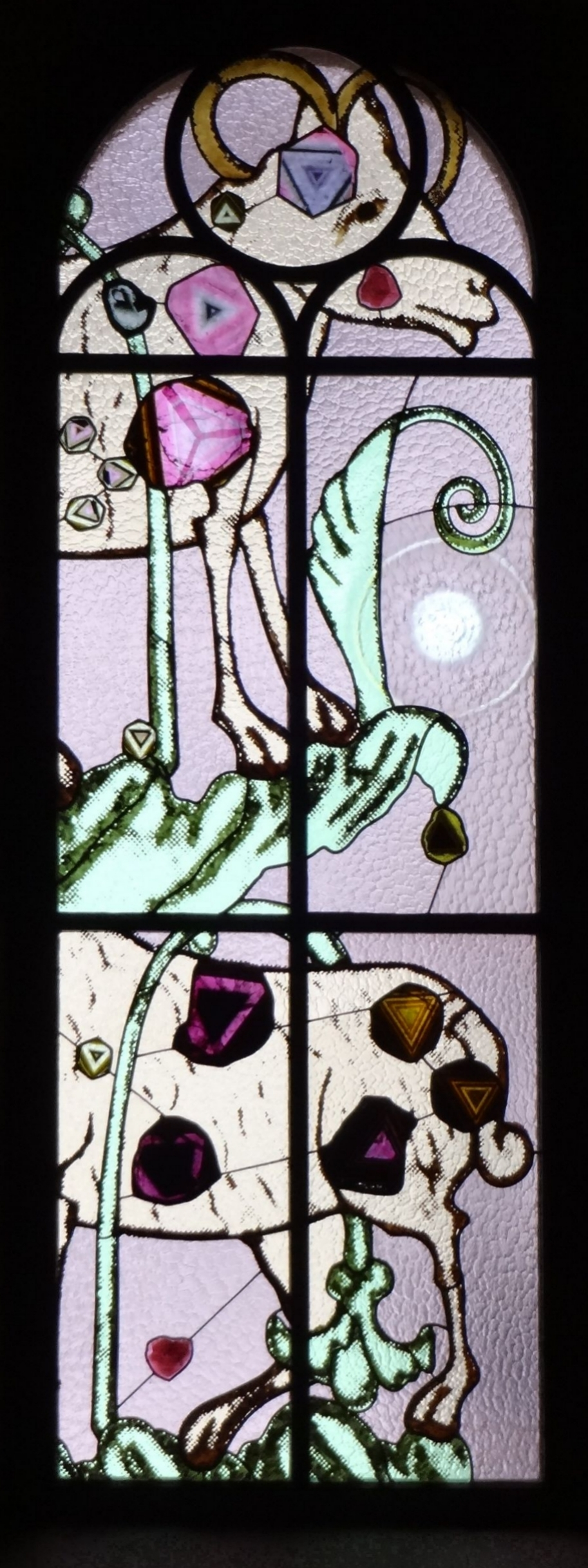 Zurich grossmu  nster stained glass window by sigmar polke scapegoat