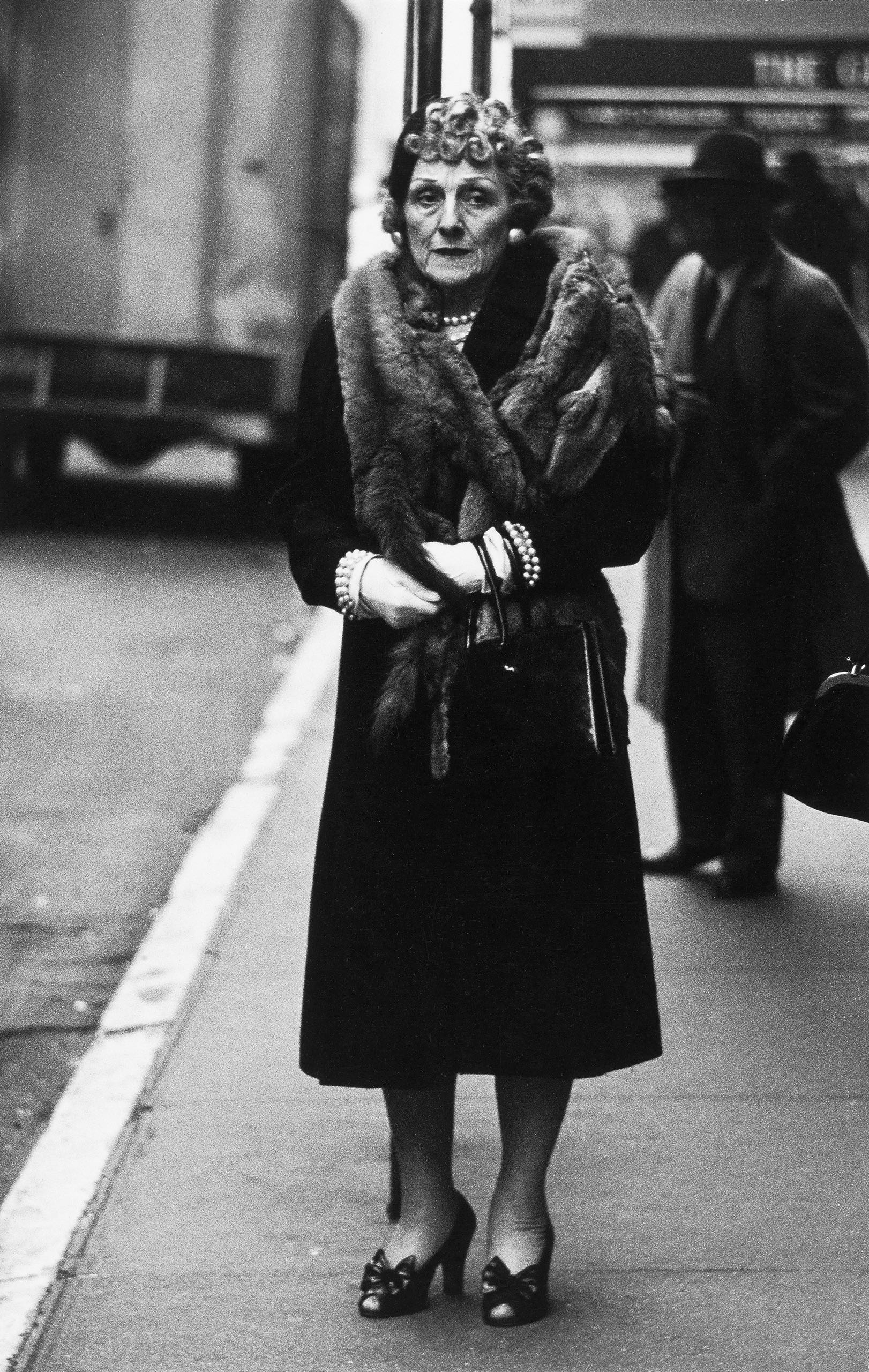 Woman in a mink stole and bow shoes  n.y.c. 1956
