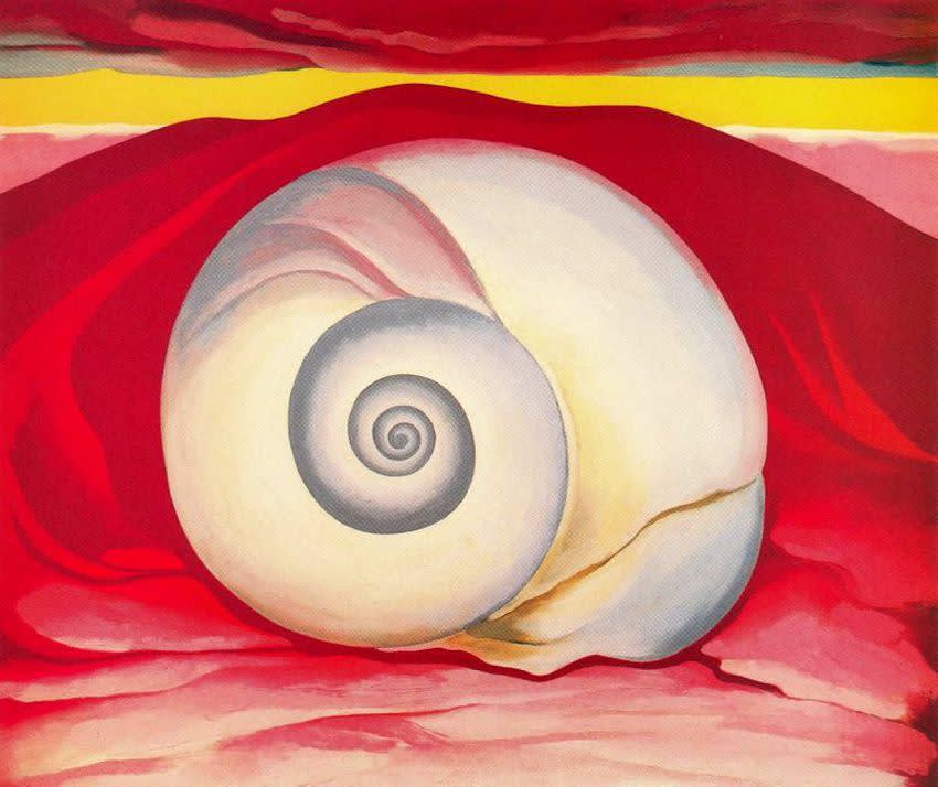 Georgia O'Keeffe , Red Hill And White Shell, 1938
