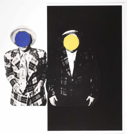 John baldessari  blue boy  with yellow boy   one in hawaiian tie  one with dark   1989