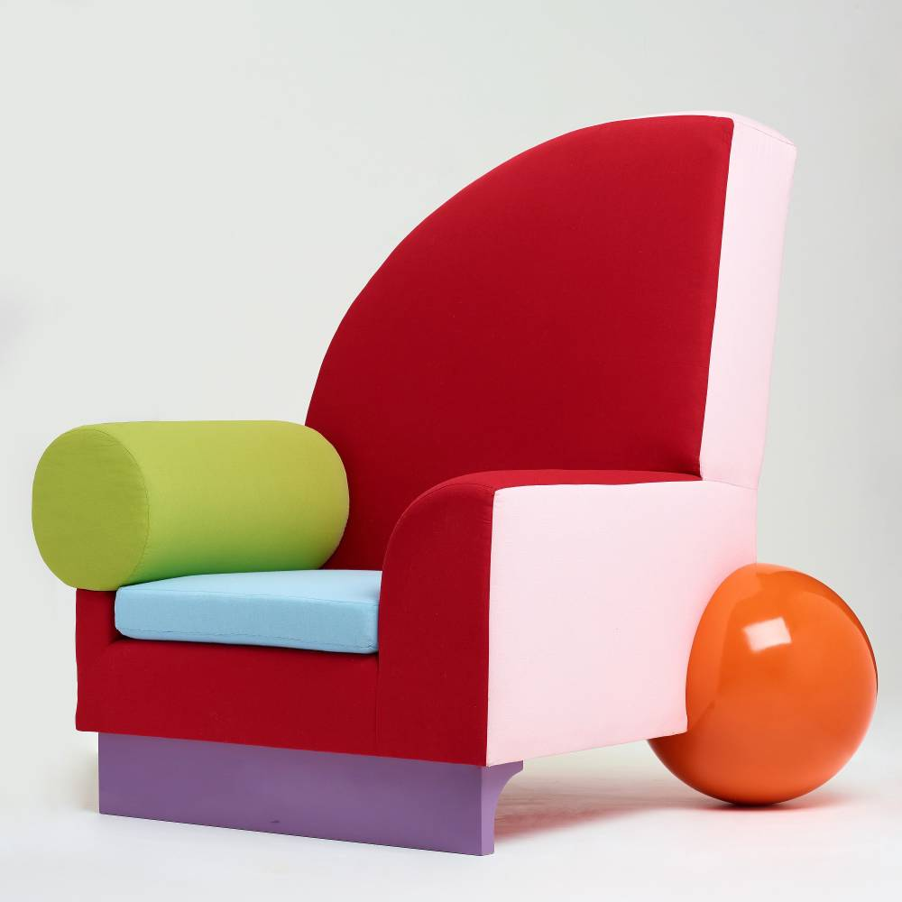 Peter shire   bel air  easy chair  memphis milan  post 1982