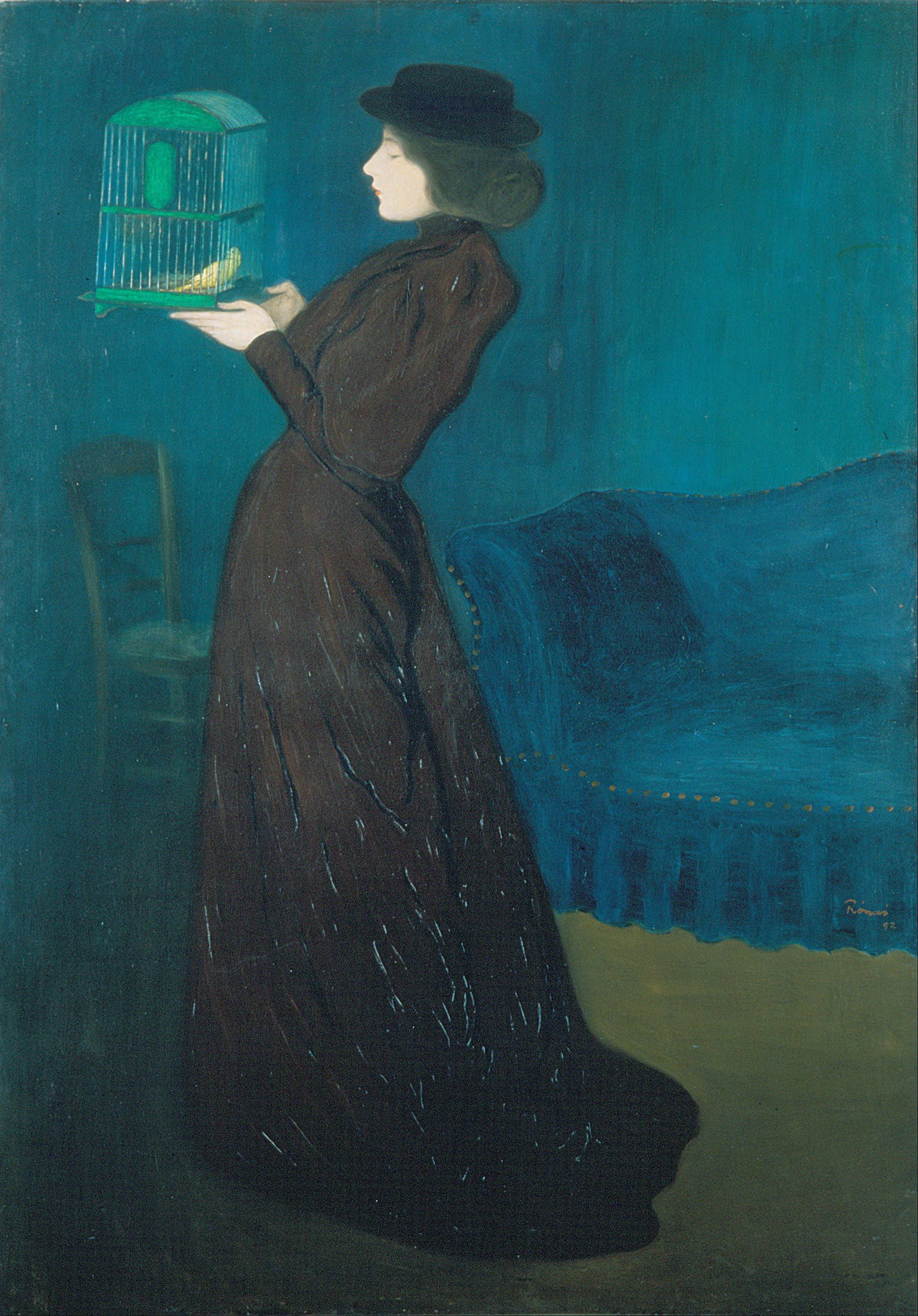 Woman with a birdcage  1892 by jozsef rippl ronai.