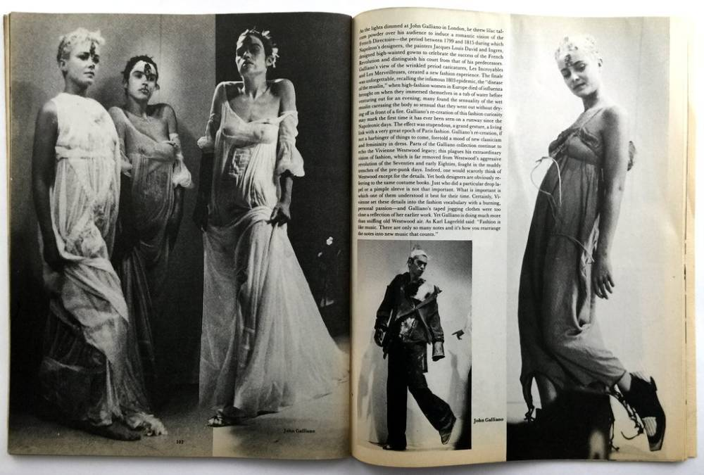 John galliano.  forgotten innocents dec 1986 this is the third london show. styled by amanda grieve. the models splashed wit
