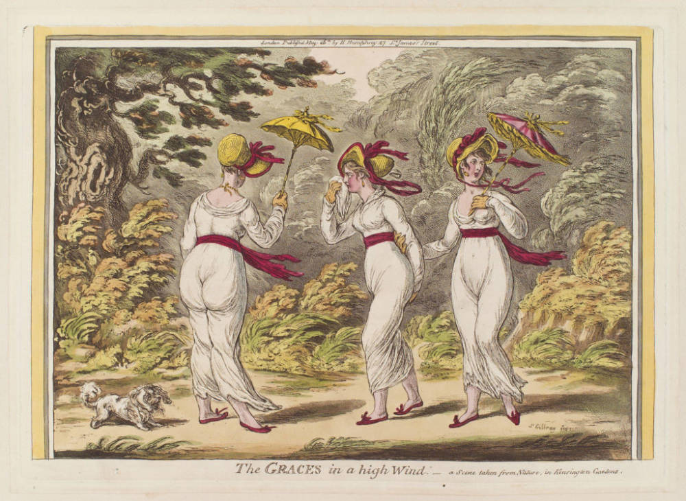 James Gillray , The graces in a High Wind, Women effected by Muslin Disease, 1800s