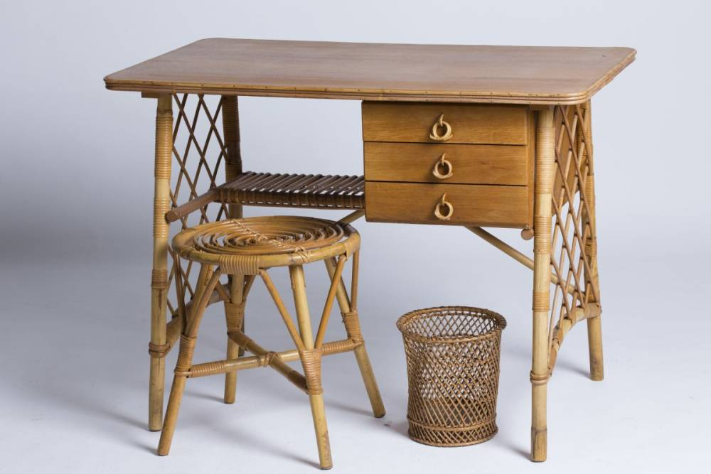 Louis sognot  small desk  stool and wastepaper basket in rattan  1950