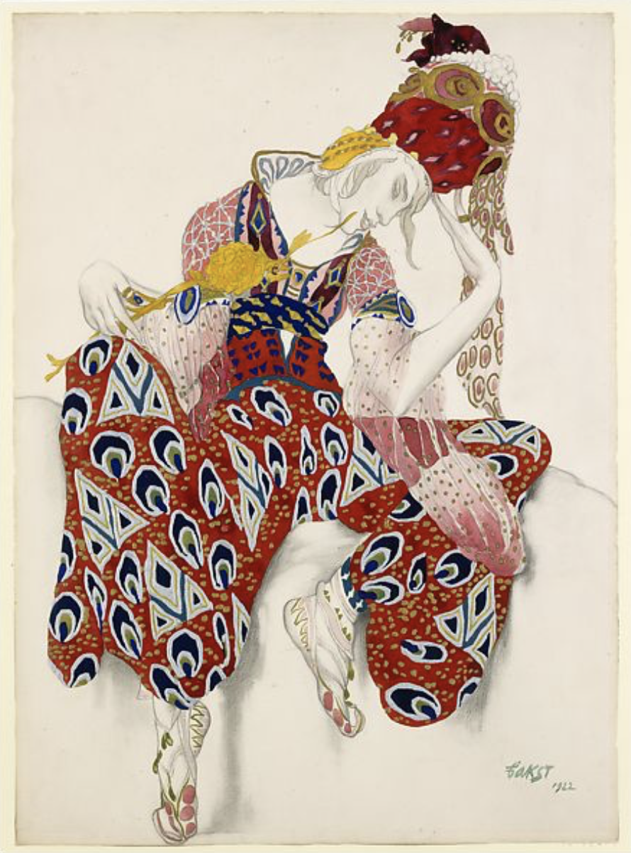 "Léon Bakst , Costume Study for Wrapped Headdress and Jumpsuit, The Ballet ""La Péri"" (The Flower of Immortality), 1922"