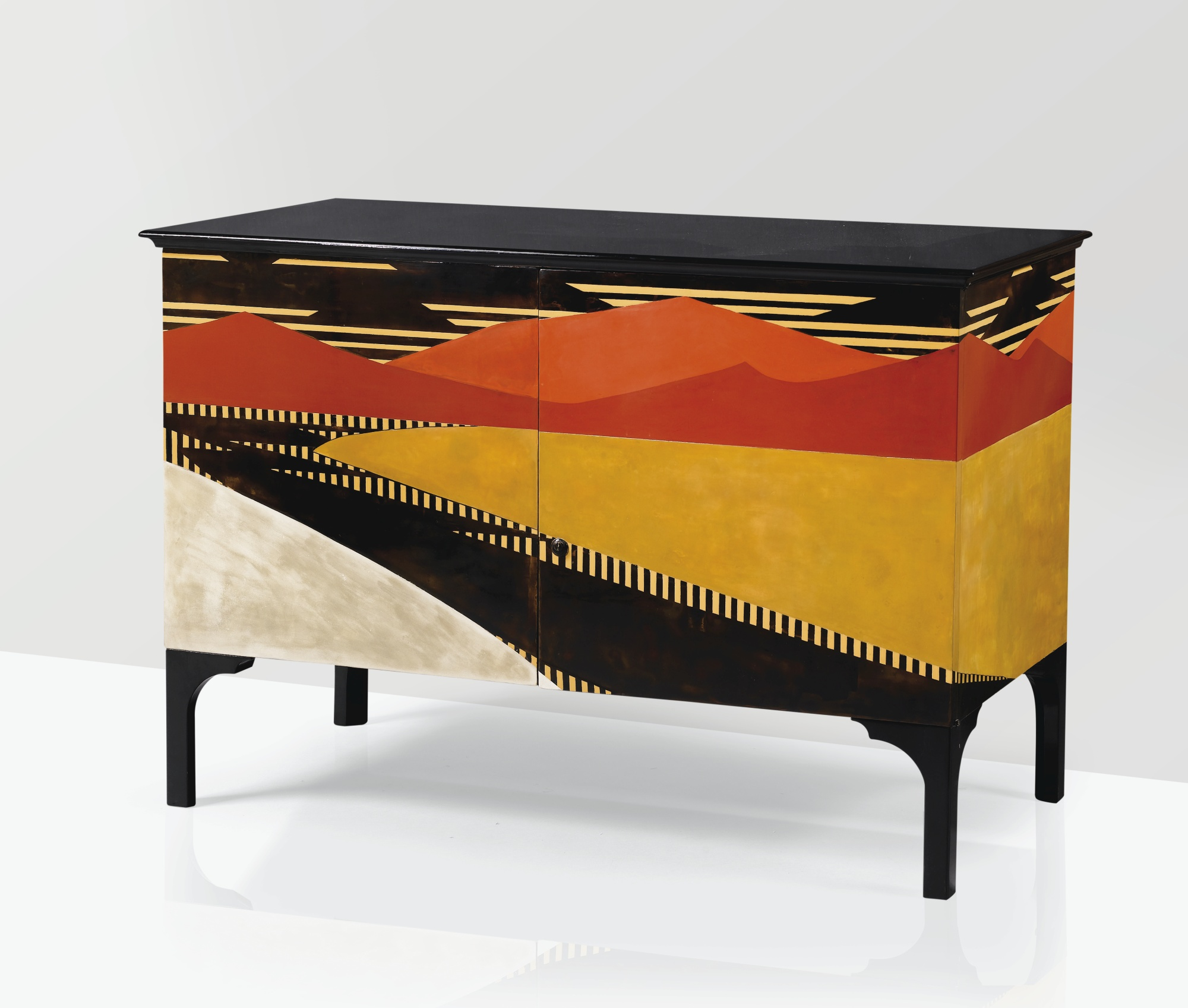 Jean dunand   jean goulden  commode a   l anglaise  pie  ce unique  1921