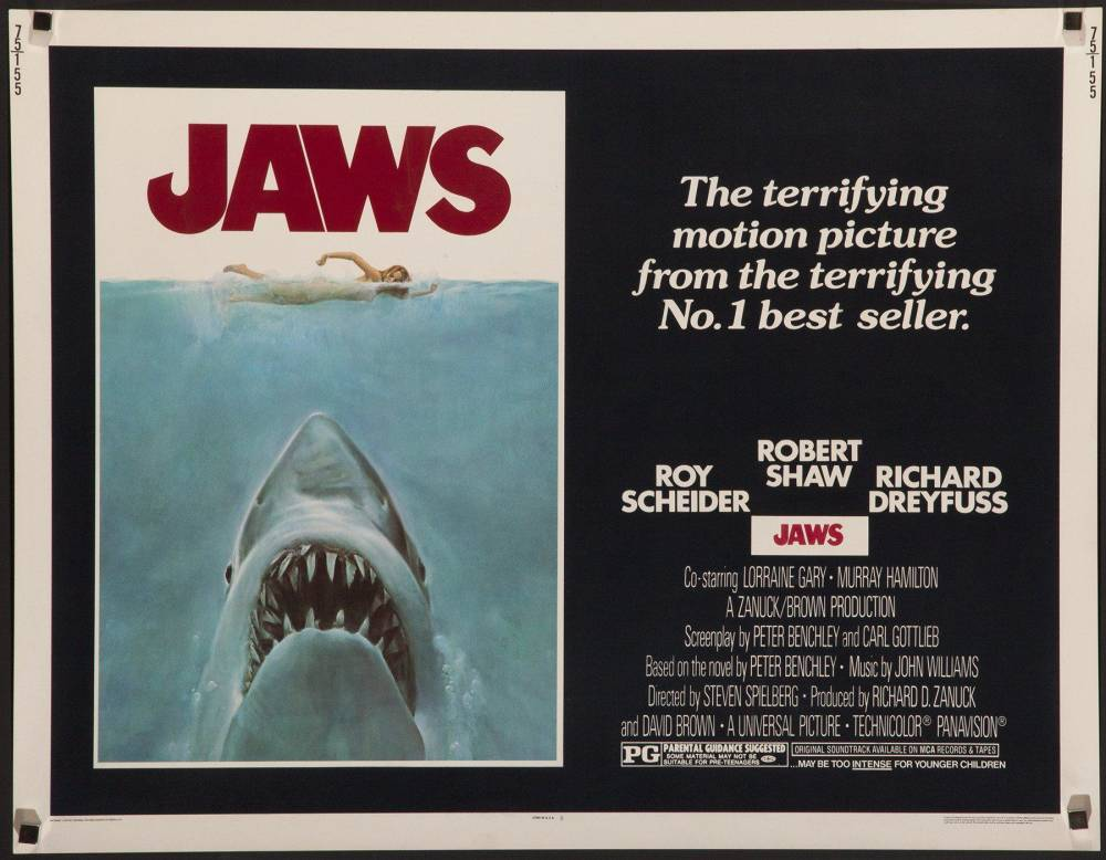 Jaws , Vintage Movie Poster Original Half Sheet, 1975