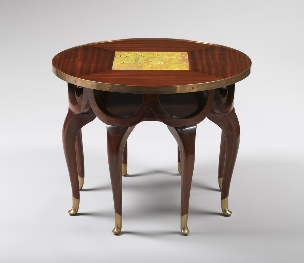 Elephant trunk table with glass inset tiles. designed by adolf loos  austrian  1870   1933   ca. 1900