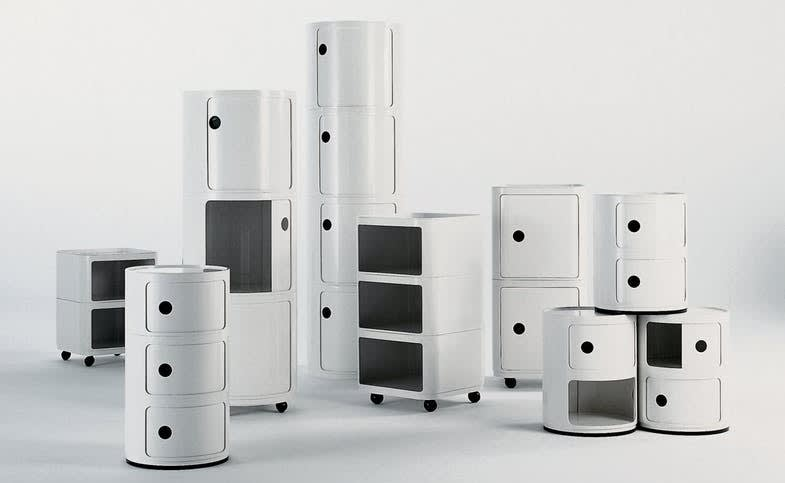 The componibili modular container system designed by anna castelli ferrieri for kartell in 1967  square