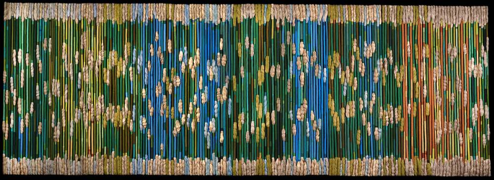 The silk rainforest  1975 by sheila hicks. minimalism. tapestry
