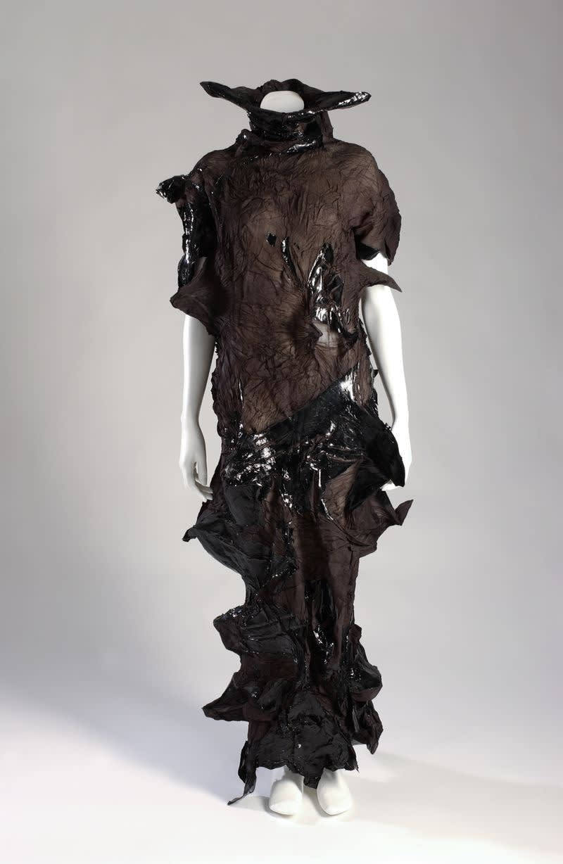 Yoshiki hishinuma dress made of sheer polyester polyurethane from 1999